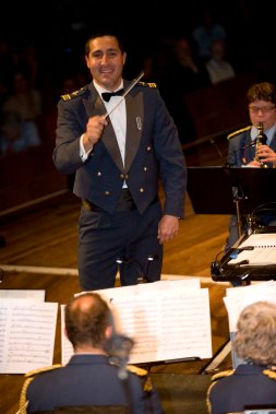 The Central Band of the RNZAF performing their annual Proms concert in the Michael Fowler Centre in Wellington - SqnLdr Owen Clarke, clearly enjoying his job :-)